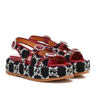 Gucci Tweed GG Platform Sandals • NEW